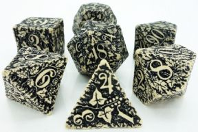 Beige & Black Forest 3D Dice Set